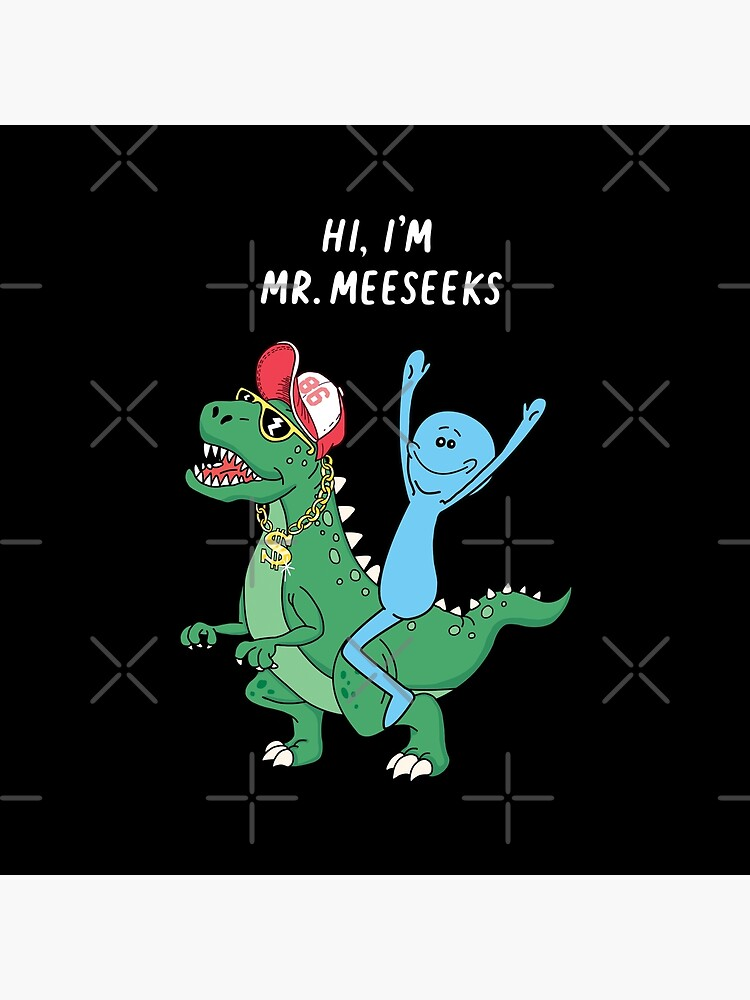 Rick and Morty Mr Meeseeks Riding Dinosaur by SuperrSunday