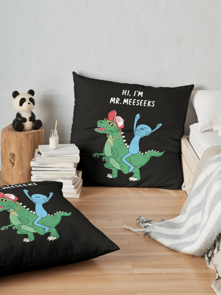 Alternate view of Rick and Morty Mr Meeseeks Riding Dinosaur Floor Pillow