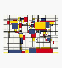 World Map Abstract Mondrian Style Photographic Print