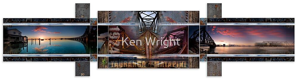 Matapihi Railway Bridge, morning, noon and night. by Ken Wright