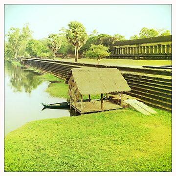Wooden dock by Cambodian ruins by georginho