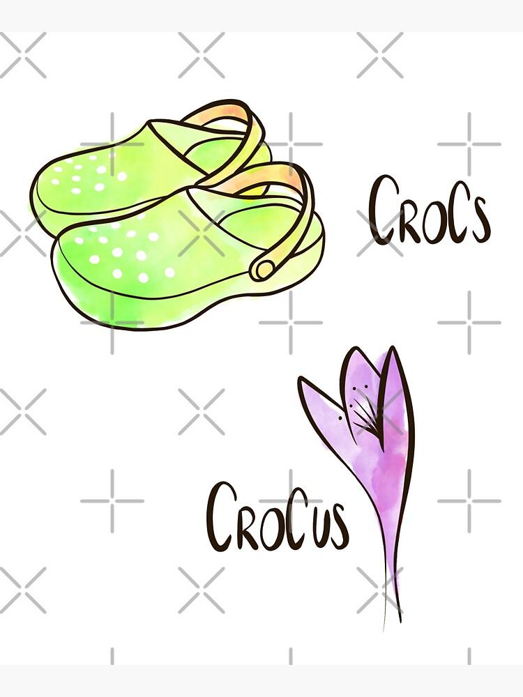 Crocs and Crocus watercolor illustration by nobelbunt