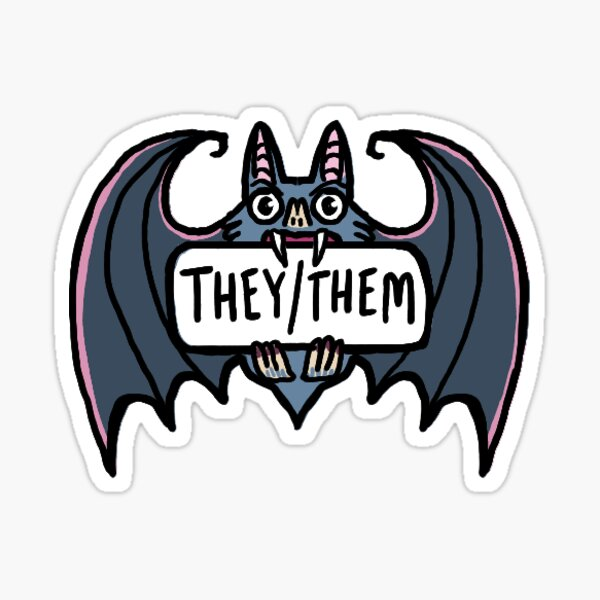they/them pronoun sticker - bat Sticker