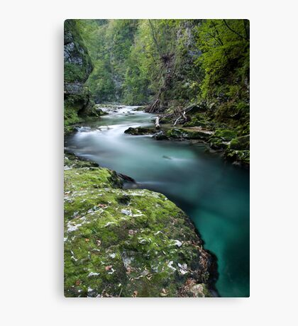 The Soteska Vintgar gorge at dusk Canvas Print