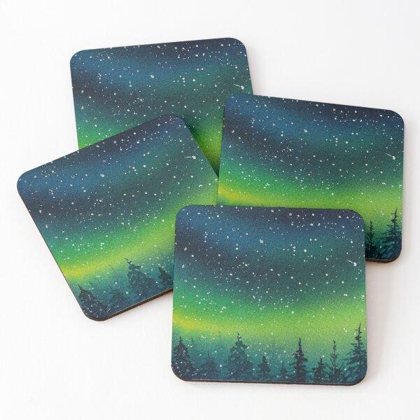 Aurora borealis landscape Coasters (Set of 4)