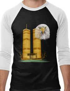 Gold Twin Towers and Eagle Men's Baseball ¾ T-Shirt