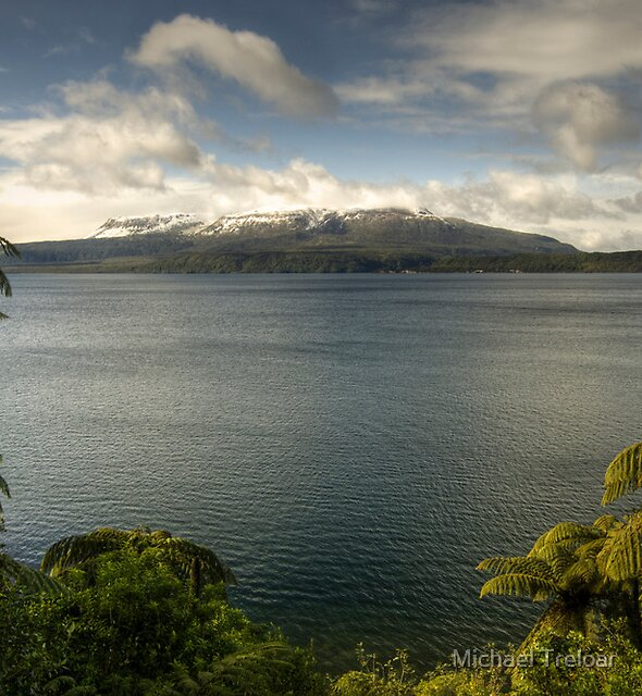 Snow Capped Mt Tarawera by Michael Treloar