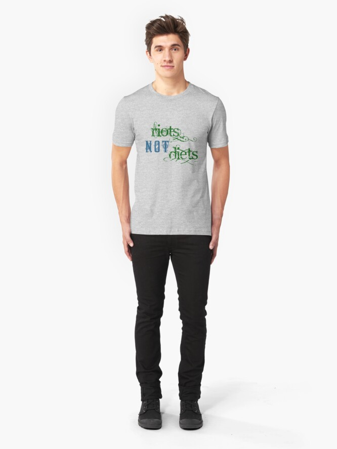Alternate view of Riots Not Diets (Green and Blue) Slim Fit T-Shirt
