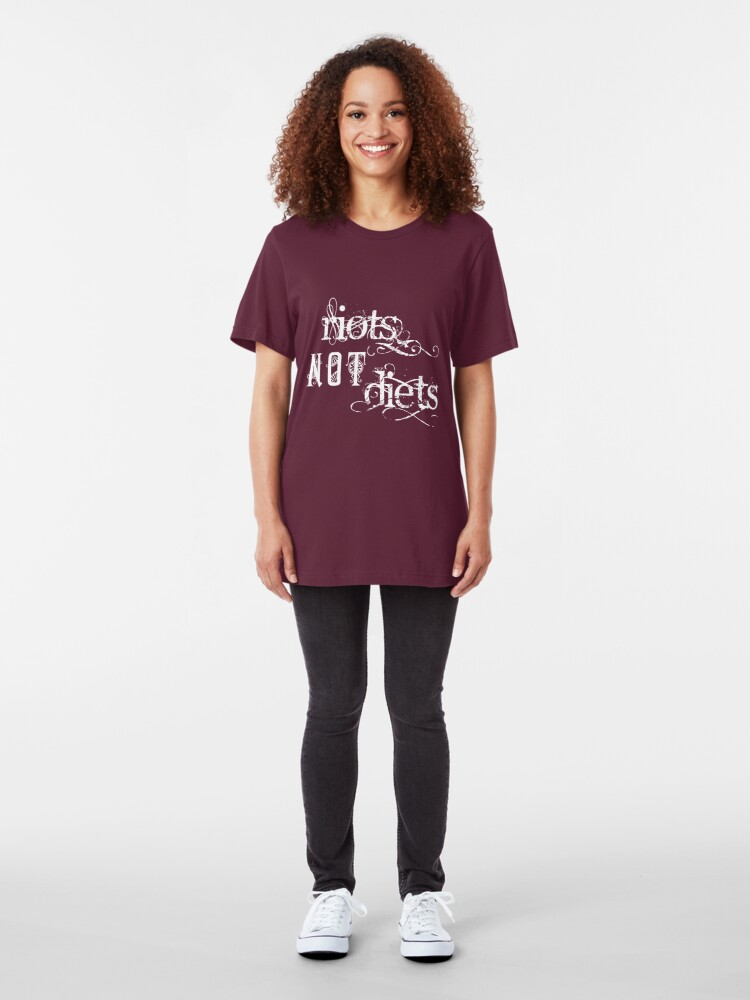 Alternate view of Riots not Diets on Dark Colours Slim Fit T-Shirt