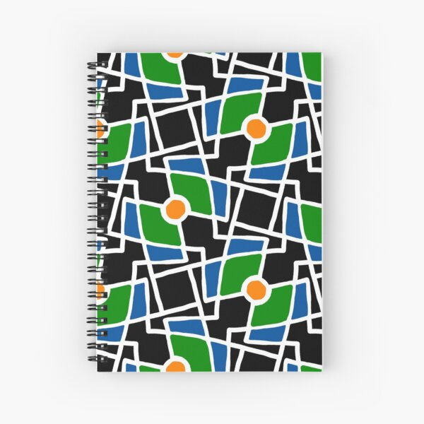 Black, green and blue shapes and orange dots. Spiral Notebook
