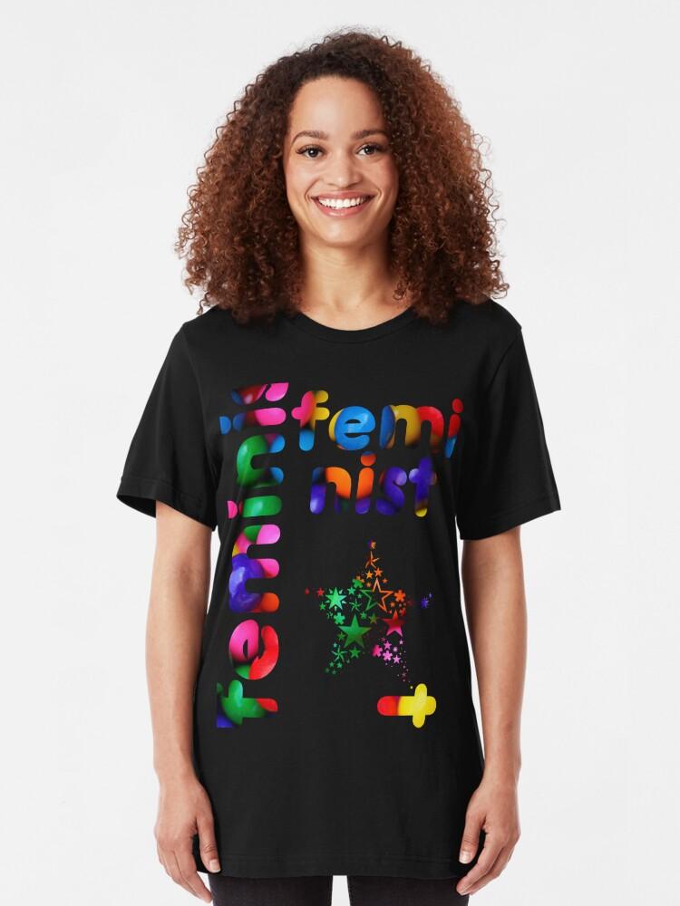 Alternate view of Jelly Bean Feminist Slim Fit T-Shirt