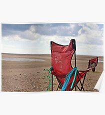 Chair with a seaview, Bannow bay, County Wexford, Ireland Poster