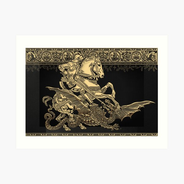 Saint George and the Dragon in Gold on Black Canvas Art Print