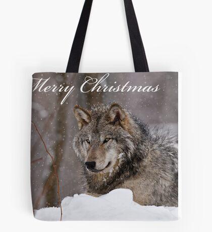 Christmas Card - Timber Wolf  Tote Bag