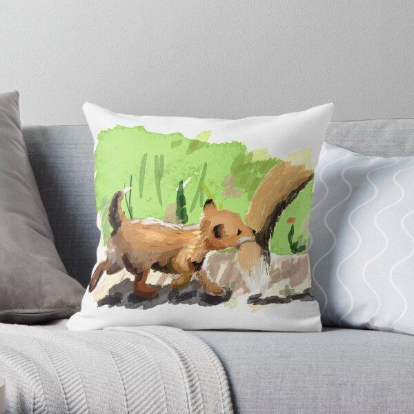 Baby Fox Tag Along Throw Pillow
