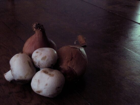 French Shallots and Mushrooms by Patty Gross