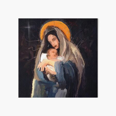 mother Mary with Jesus Christ an abstract painting | mother merry | mother merry poster Art Board Print