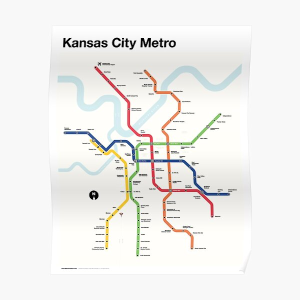 Kansas City Metro (Fantasy Subway Map, Kansas City, Missouri) Poster