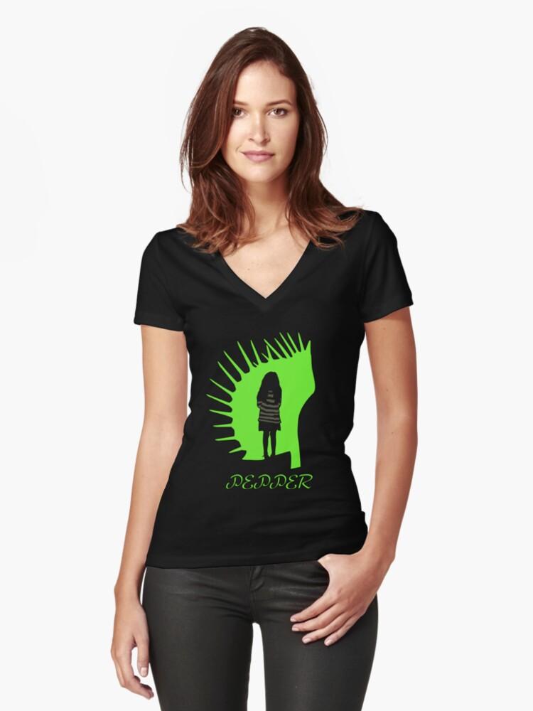 Pepper Women's Fitted V-Neck T-Shirt Front