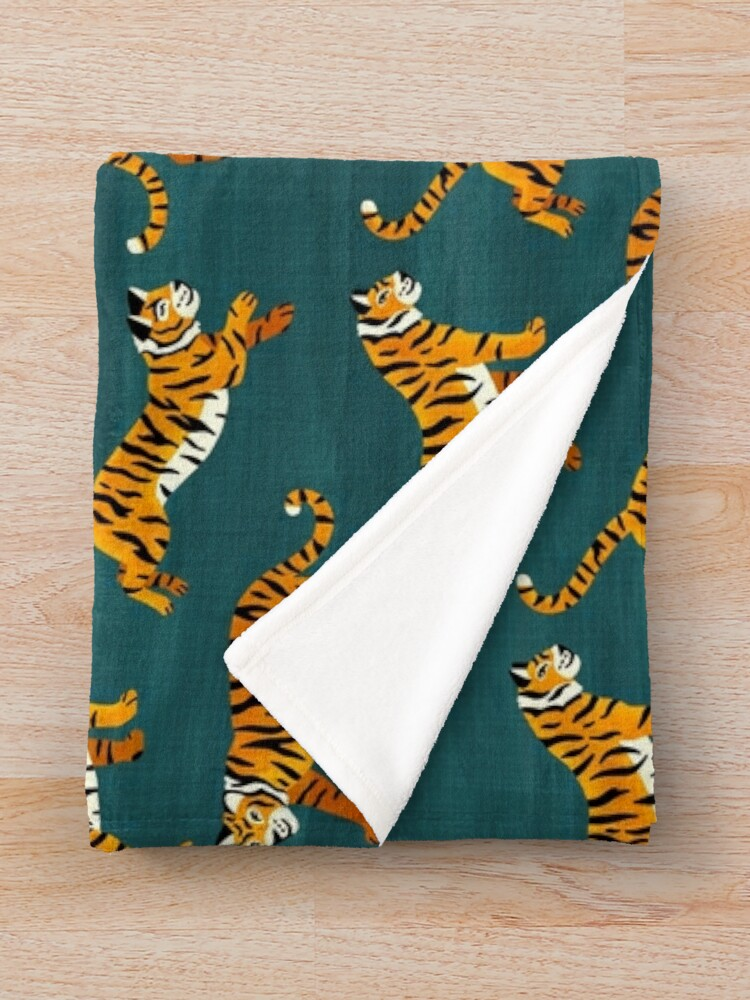 Alternate view of Bengal Tigers - Navy  Throw Blanket