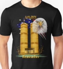 Gold Twin Towers, Eagle n Flag Unisex T-Shirt