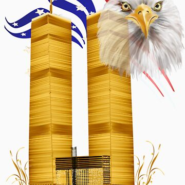 Gold Twin Towers, Eagle n Flag by Lotacats
