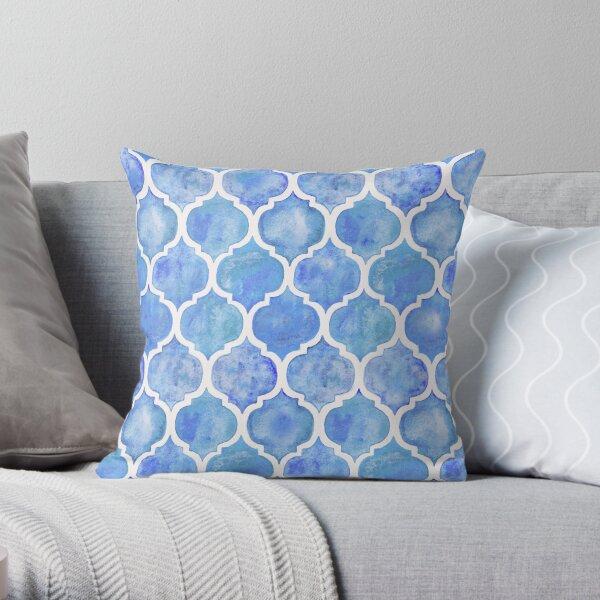 Cornflower Blue Moroccan Watercolor Pattern Throw Pillow