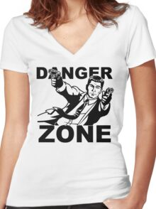 Archer Danger Zone FX TV Funny Cartoon Cotton Blend Adult T Shirt Women's Fitted V-Neck T-Shirt