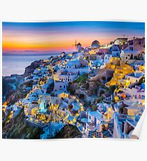 Santorini Sonnenuntergang Poster