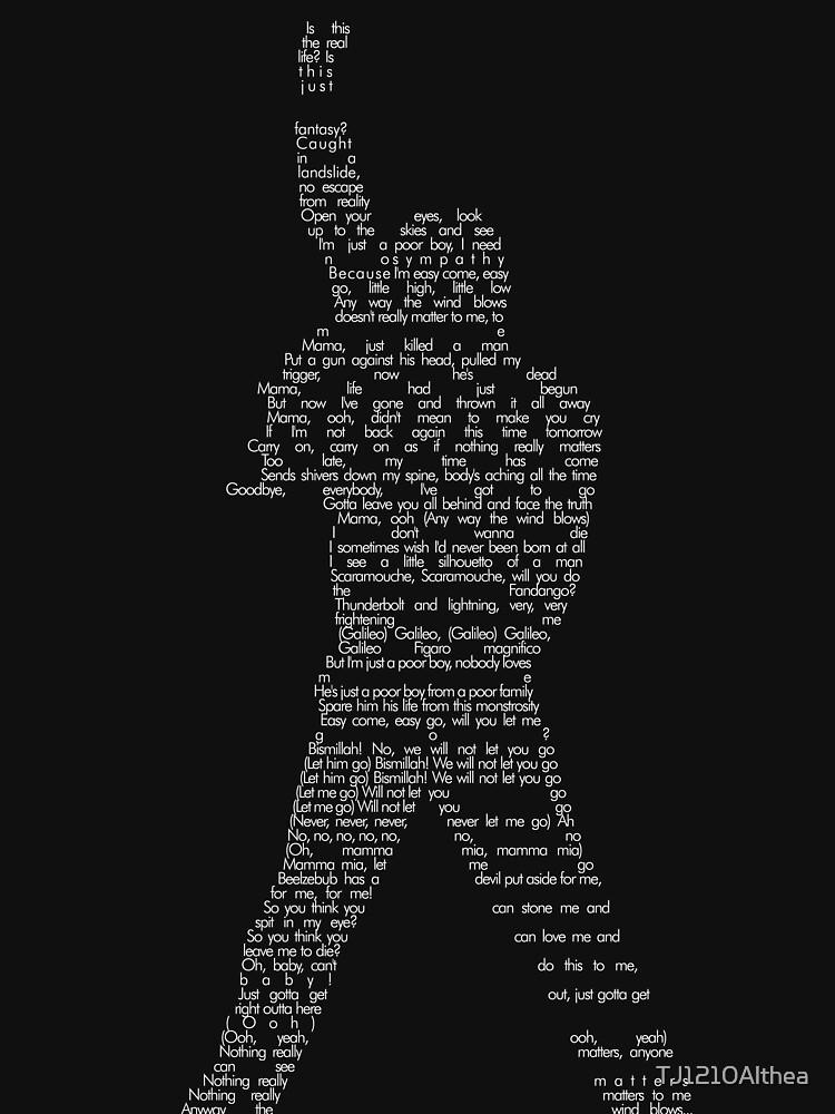Bohemian Rhapsody letras sobre Freddie Mercury forma BLANCO de TJ1210Althea