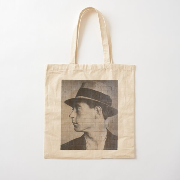 Man on a wall mural Cotton Tote Bag