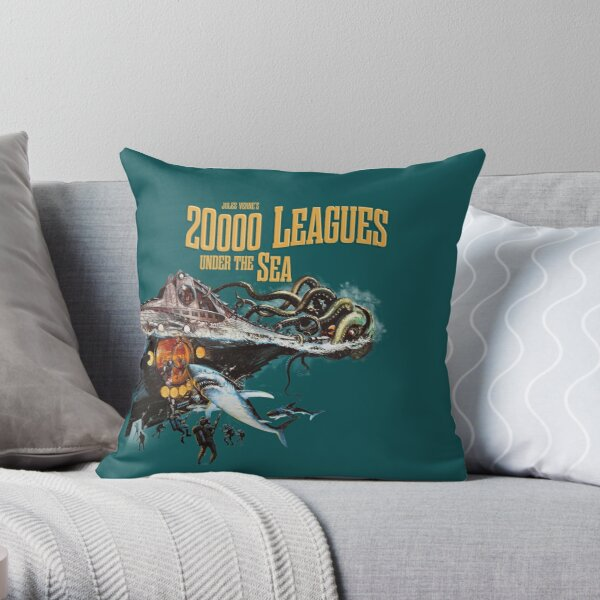 20,000 leagues under sea Jules Verne Throw Pillow