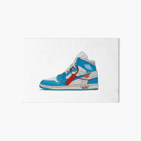 OFF-WHITE UNC Jordan 1 Illustration Stickers & Prints Art Board Print