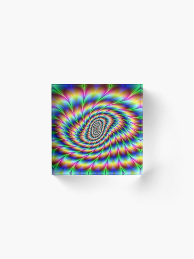 Alternate view of Op art - art movement, short for optical art, is a style of visual art that uses optical illusions Acrylic Block