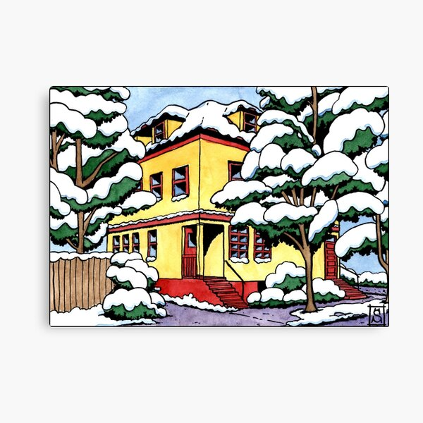 The snowy house Canvas Print