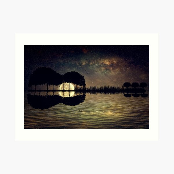 guitar island moonlight Art Print