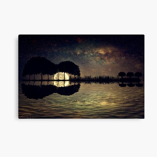 guitar island moonlight Canvas Print