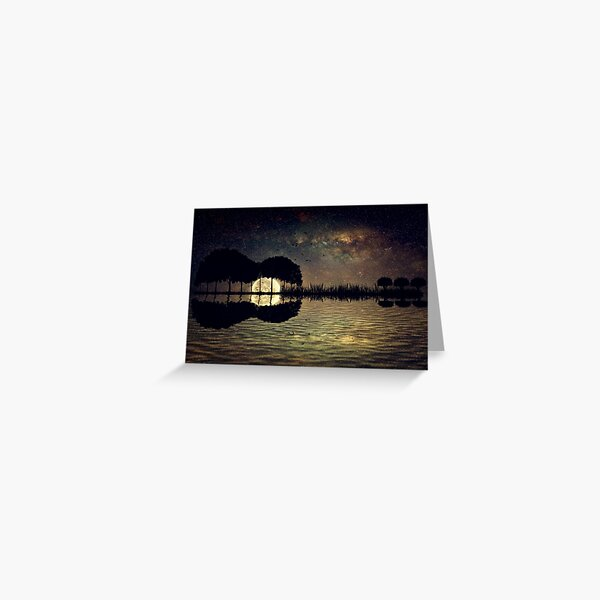 guitar island moonlight Greeting Card