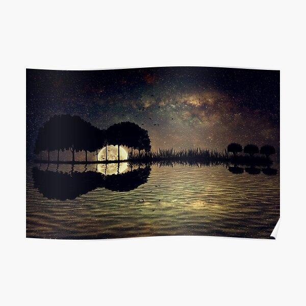 guitar island moonlight Poster