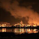 QAL Aluminium Refinery (by night) by buildings