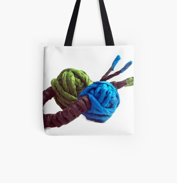 JUMPING COLORS - blue and green on a ring - All Over Print Tote Bag