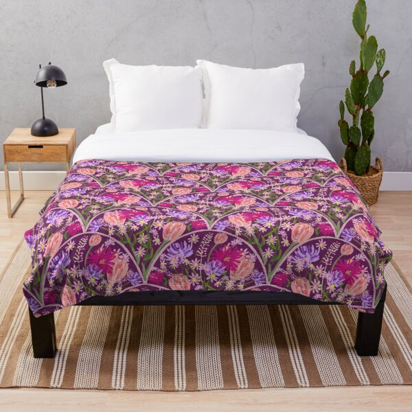 Wildflowers in Scallops in Aubergine by Tea with Xanthe Throw Blanket