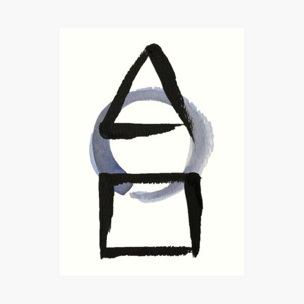 Triangle Circle Square Calligraphy Enso Art Print