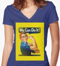 rosie the riveter Women's Fitted V-Neck T-Shirt