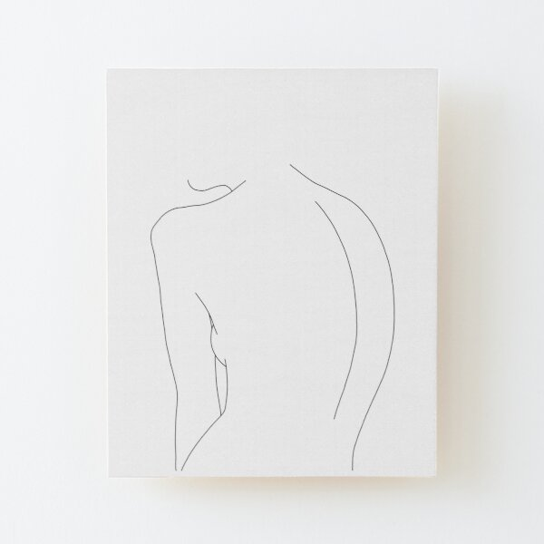 Nude back line drawing illustration - Alex Wood Mounted Print
