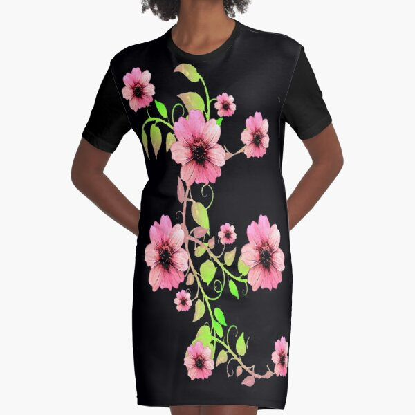 WATERCOLOR FLORAL GARLAND WITH LIGHT PINK FLOWERS Graphic T-Shirt Dress