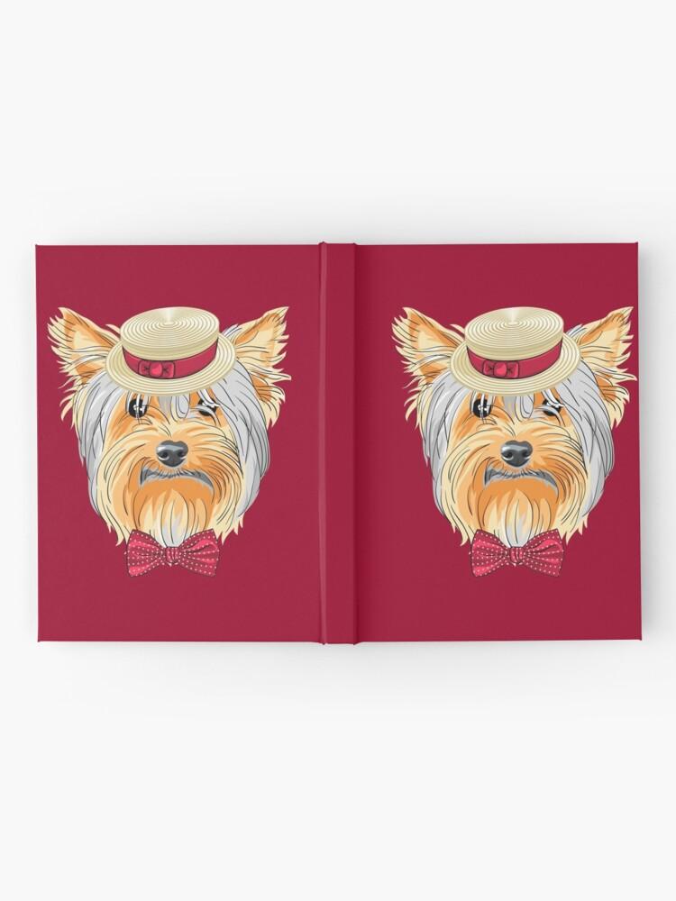 Yorkie Shower Curtain Hipster Gentleman Dog Print for Bathroom