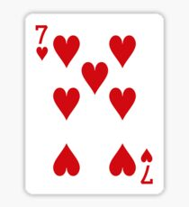 Seven of Hearts Playing Card Sticker Sticker
