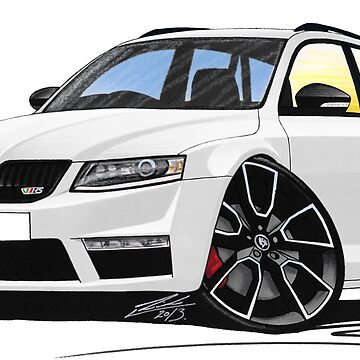 Skoda Octavia (Mk3) vRS Estate White by yeomanscarart