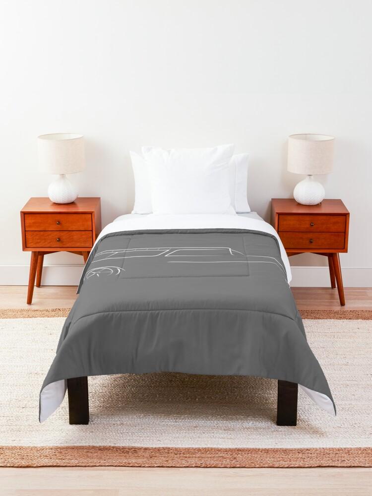 Alternate view of 1955 Nomad - profile stencil, white Comforter